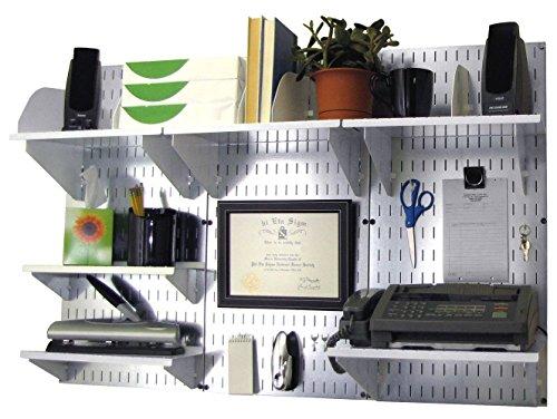 Wall Control 10-OFC-300 GVW Office Wall Mount Desk Storage and Organization Kit GalvanizedWhite