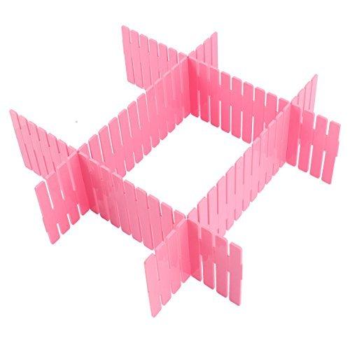 DealMux Plastic Home Closet Grid Drawer Divider Container Storage 4pcs Pink