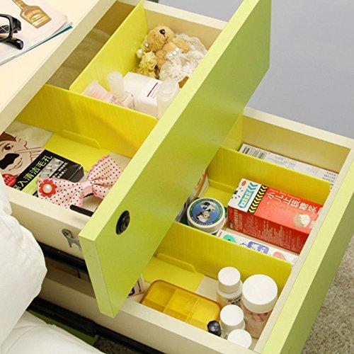 Yellow Storage Drawer Units DIY Grid Drawer Divider Household Organizer Closet Clapboard Partition Plastic 245 x 8cm 3Pcs