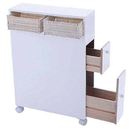 HOMME Wood Floor Bathroom Storage Rolling Cabinet Holder Organizer Bath Toilet White Bathroom Toilet Rolling Wood