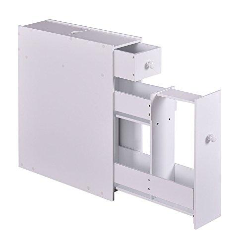 Narrow Wood Floor Bathroom Storage Rolling Cabinet Holder Organizer Bath Toilet
