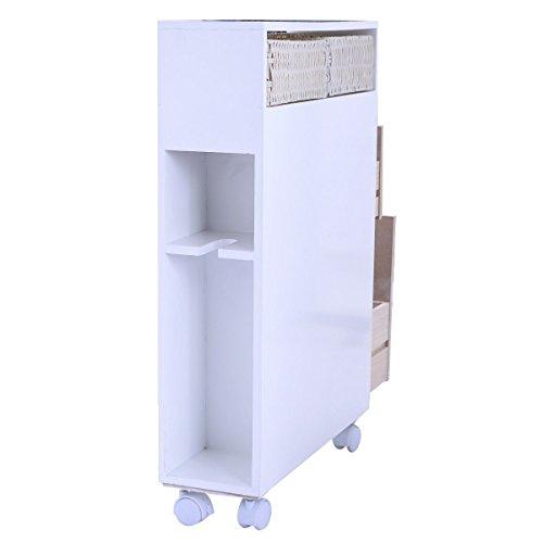 White Clean Bathroom Storage Rolling Cabinet Holder Organizer Bath Toilet Wood Floor
