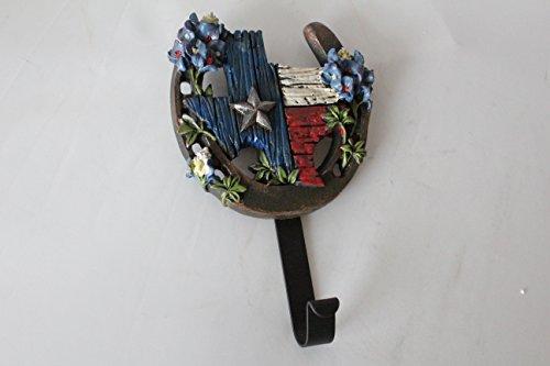 Western Rustic Texas Map Horseshoe Bluebonnets Wall Hook Key Holder Coat Hanger Hand Painted Decoration