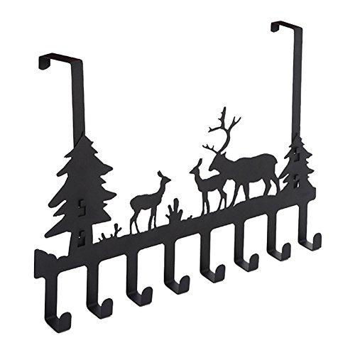 DIRUISHEN Over Door Hook RackVintage Metal Deer Wall HooksDecorative Organizer Hooks for Clothes Coat Hat Belt TowelsStylish Over Door Hanger for Home or Office Use 8 HookBlack