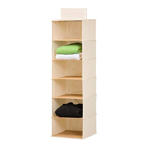 Honey-Can-Do SFT-01003 Hanging Closet Organizer BambooCanvas 6-Shelf