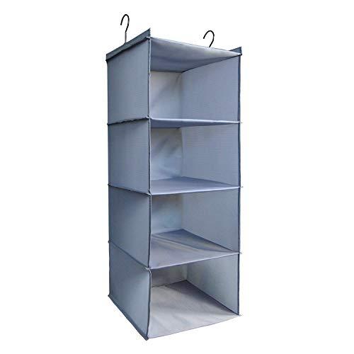 IsHealthy Hanging Closet Organizer and Storage 4-Shelf Easy Mount Foldable Hanging Closet Wardrobe Storage Shelves Clothes Handbag Shoes Accessories Storage Washable Oxford Cloth Fabric Gray