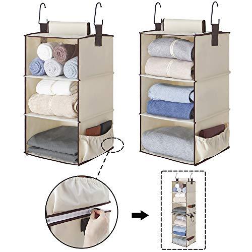StorageWorks 2PCS Detachable 3-Shelf Sturdy Closet Hanging Organizer Collapsible Closet Hanging Shelves for Clothes and Shoes Canvas 21 H x 12 W x 12 D