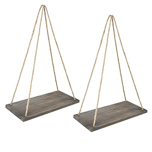 Y&Me Wood Rope Hanging Floating Shelves Set of 2 Rustic Wood Hanging Shelf with 4 HooksWall Hanging Rope Shelves for Living Room Bedroom Bathroom and Kitchen 17 x 8 x 07Brown Shelf