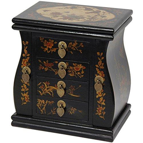 Oriental Furniture Black Lacquer Standing Mirror Jewelry Box