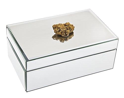 Philip Whitney Mirror 8x5 Jewelry Box W Gold Mineral