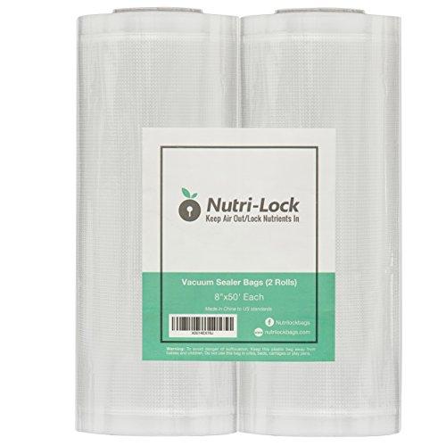 Nutri-Lock Vacuum Sealer Bags 2 Pack 8x50 Commercial Grade Sealer Rolls for FoodSaver Sous Vide