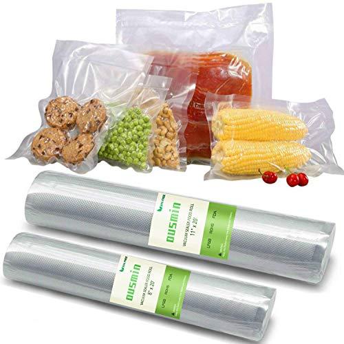OUSMIN Vacuum Sealer Bags Rolls BPA Free 11×20 and 8 ×20 Food Sous Vide Cooking Bags FDA Certified for Food Storage Saver Freezer Burn