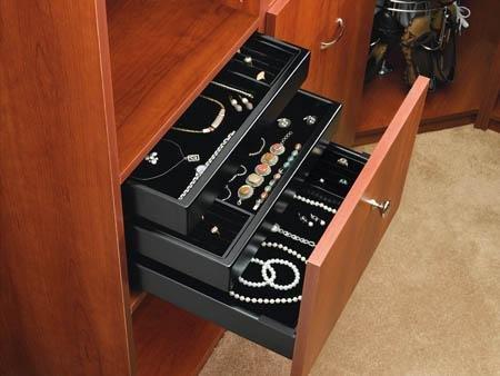 Rev-A-Shelf CVJD-1814UM-1 18 x 14 Undermount Jewelry Drawer Organizer Black