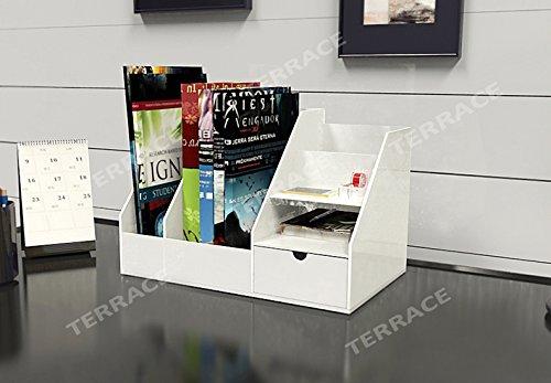 White Acrylic magazine book rackjewelry drawer organizerLucite HomeOffice Desk Accessories Organizer