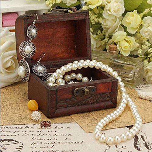 Shopline Jewelry Pearl Bracelet Necklace Storage Organizer Wooden Case Box