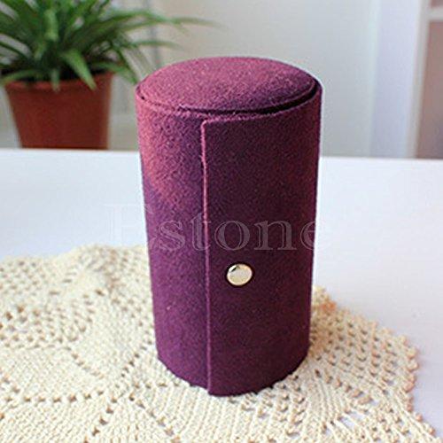Amrka Velvet Jewelry Ring Bracelet Earring Storage Container Organizer Box Case Holder Purple