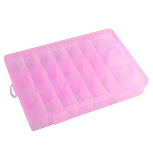 Colorido Detachable 24 Compartment Plastic Storage Box Container Jewelry Case size Medium Pink