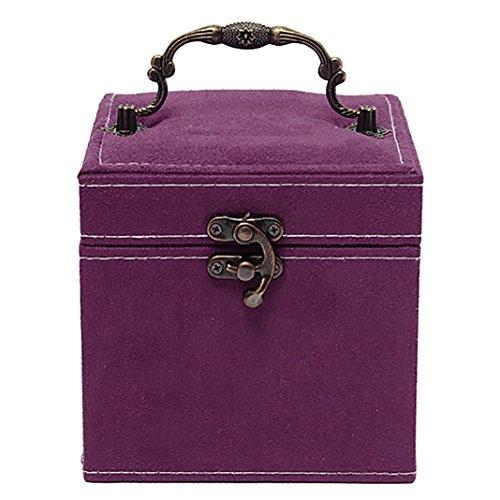 Colorido Vintage Jewelry Container Necklace Bracelet 3 Layers Storage Box Case size Medium Purple