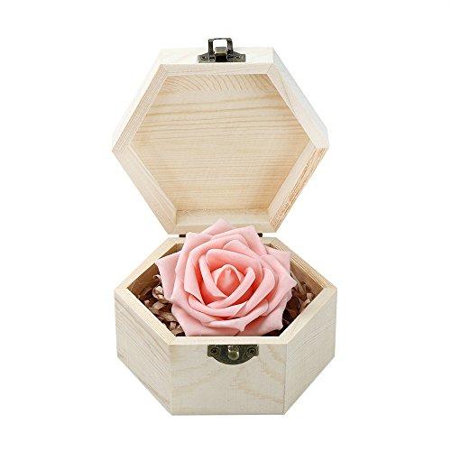 Transer Portable Hexagonal Shaped Wooden Jewelry Storage Box Organizer Containers Wedding Gift Box Holder Khaki