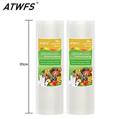 ATWFS Food Grade Vacuum bag roll 20x 500cm Vacuum Bag for food storage Vacuum food sealer Bags Packing Film Keep Fresh 2PCS