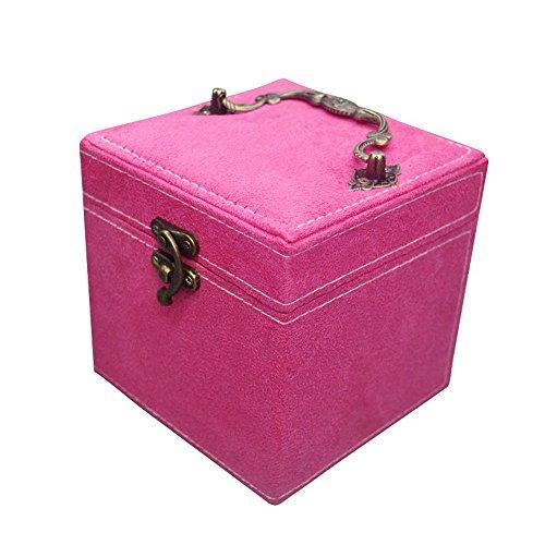 Jewelry Box OrganizerXzeit Three-Layer Lint Jewelry Box with Lock and Mirror Rose