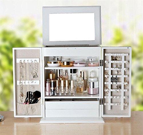 MXXYY Fashion Wooden White Large Jewelry Storage Cabinet Desktop Dressing Table Finishing Box with Mirror