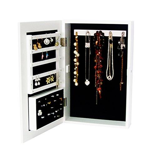 Organziedlife White Wall MountStand Desktop Jewelry Box Armoire Cabinet Organizer Ring Storage