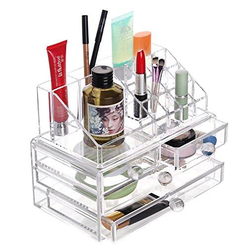 SIYIRONG Makeup Case Drawers Cosmetic Organizer Jewelry Storage Cabinet BoxTwo Pieces Set L