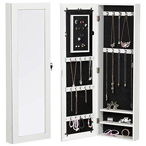 go2buy Wall Mount Mirrored Jewelry Cabinet Armoire Organizer Storage with Lock
