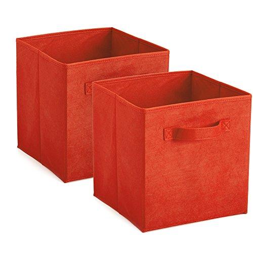 Heselian Foldable Cloth Storage Cube Basket Bins Organizerstorage bins 2 RED
