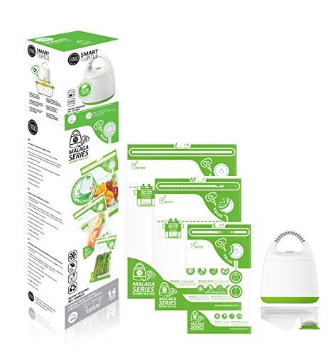 FOSA Vacuum Seal Food Storage System Reusable Zipper Bag Set with Vacuum Pump V-adapter 14 Storage Bags