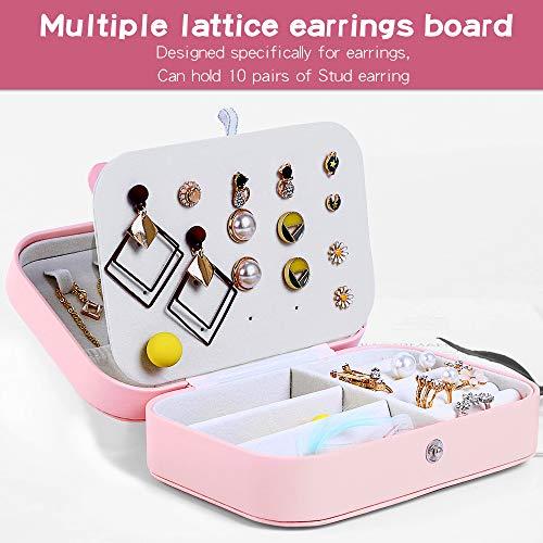 Jaciu Jewelry Box Double Layer Jewelry Organizer for Necklace Earrings Ring Watch Bracelet Storage Jewelry Case for Women Girls Gift Orange Pink