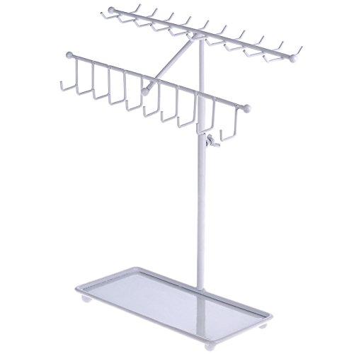 MyGift 15 inch White Metal 30-Hook Necklace Bracelet Storage Organizer Jewelry Tree Hanger Display Rack