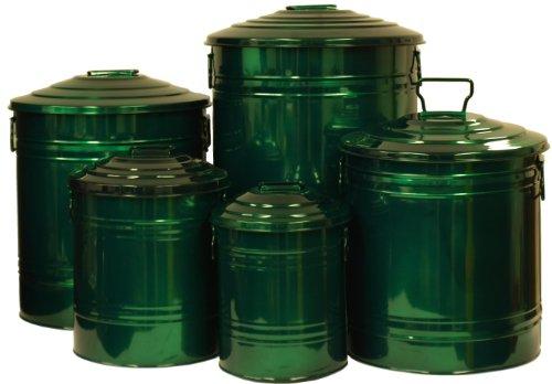 Houston International Trading 6517E GG Enameled Galvanized Heavy Gauge Steel Storage Container Glazed Green Set of 5
