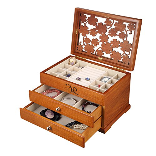 jewel boxRetro large wooden jewelry boxwithout mirror vanitygifts for birthday or wedding-C