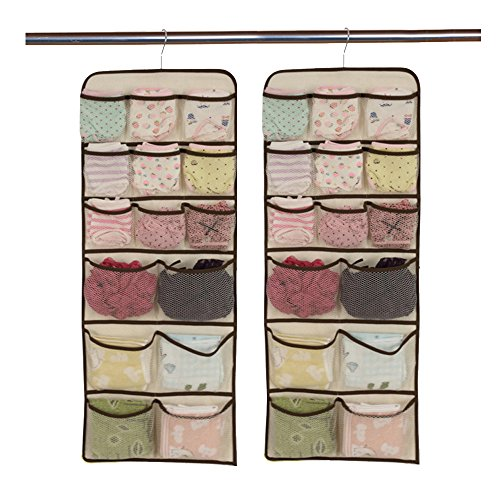 Daygos Hanging Closet Dual-Sided Organizers-30 Pockets-Canvas Storage Bag for Stockings&Socks&Underwear&Jewelry Organization