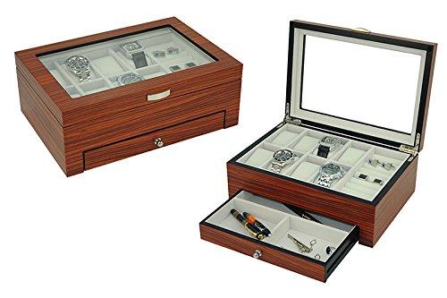 NEW LUXURY Rosewood Gloss Watch and Jewelry Organization BoxMens Valet Storage Box Rosewood