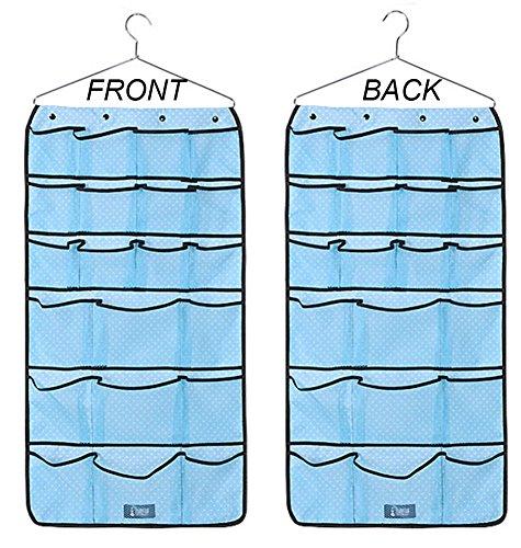 Joyan Durable Hanging Dual-sided Mesh Pockets Jewelry Organizer Bra Underwear Socks Ties Storage Organizer Bag with Hanger 42 Pockets Blue