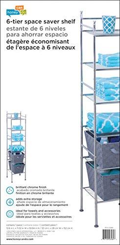 Honey-Can-Do BTH-03484 6 Tier Metal Tower Bathroom Shelf 126 x 1102 x 5984 Chrome