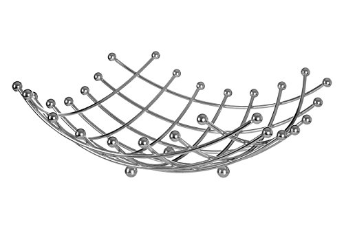 CONTEMPORARY DESIGN FRUIT BASKET CHROME WIRE LATTICE AND BALL DET