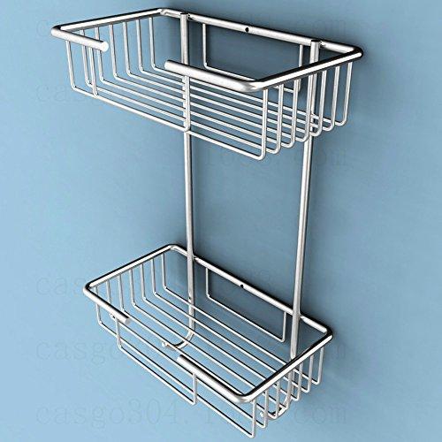 OLQMY-304 Stainless Steel Double Layer Bathroom Hanging Basket Bathroom Rack Folding Bathroom Hanging Rack