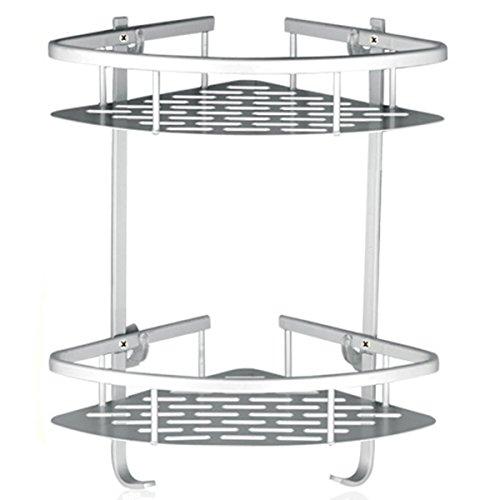Fencher Bathroom Shelf  No Drilling  Durable Aluminum 2 tiers shower storage Towel Bar basket kitchen cornor sticky No Drills Shelves