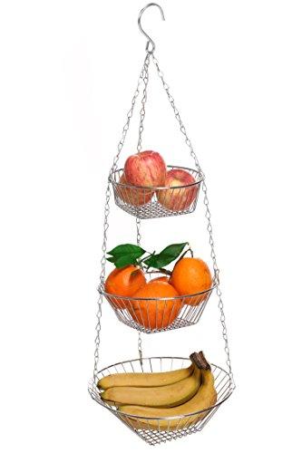 Homdox Stainless Steel 3-Tier Wire Hanging Basket Flower Fruit Vegetable Storage Kitchen Basket - Chrome