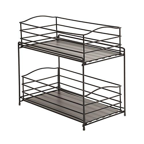Seville Classics 2-Tier Sliding Basket Kitchen Cabinet Organizer Gun Metal