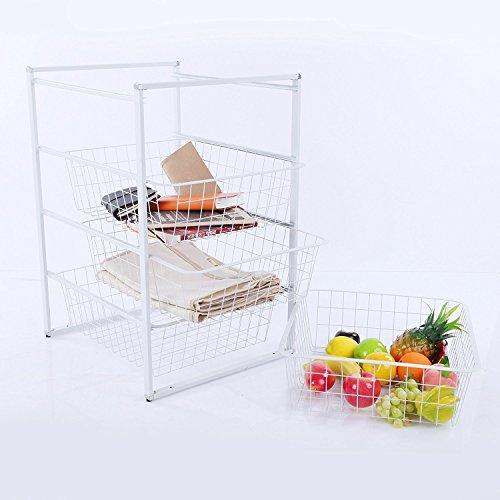 VECELO 4-Tier Storage Cart with 4 Removable Baskets Kitchen Laundry Organizer Bathroom Utility Shelf
