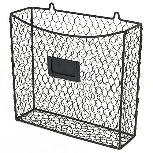 Wall Mount Country Style Chicken Wire Basket Kitchen Utensil Organizer Storage Drawer Countertop Organization Black
