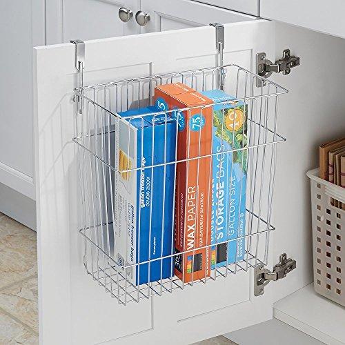 mDesign Over the Cabinet Wastebasket Trash Can or Storage Basket for Kitchen - Chrome