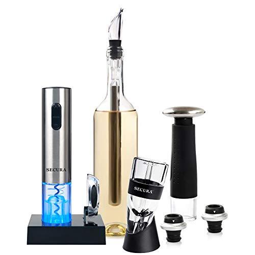 Secura 12-Piece Wine Accessories Set Electric Wine Opener Wine Foil Cutter Wine Aerator Wine Saver Vacuum Pump and 2 Wine Stoppers