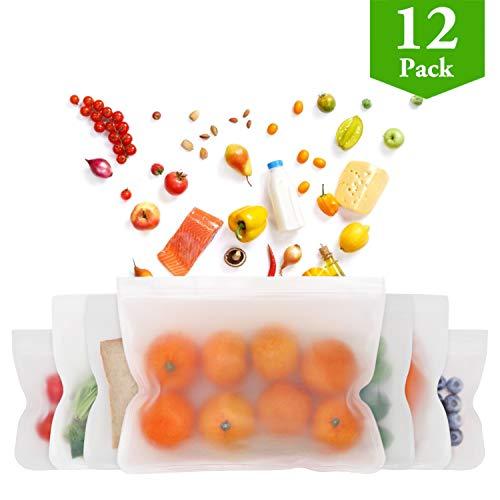 12Pack FDA Grade Reusable Storage Bags 4 Reusable Sandwich Bags 4 Reusable Snack Bags 4 Reusable Lunch Bags Leakproof Plastic BPA Free Ziplock Food Storage Lunch Bags for Kids Freezer Safe