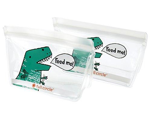 Full Circle FC17343D ZipTuck Reusable Snack Bag Set Dinosaur